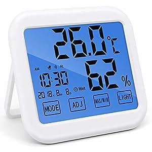 BESONデジタル温湿度計 LCD大画面 目覚まし時計 時間・日付け・最高最低温湿度表示