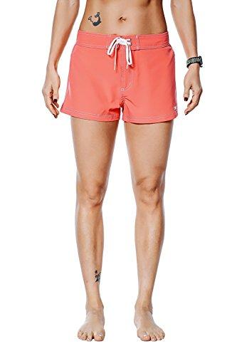 Nonwe Women's Board Shorts Quick Dry Soild Lightweight Orange 32