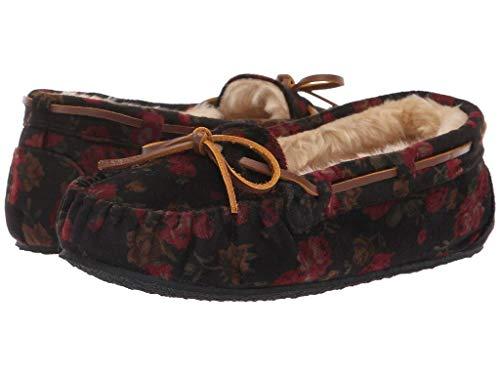 Minnetonka Shoe Women Velvet Cally Slip On Lined 8 M Black Floral 4410