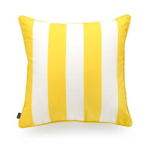 (Hofdeco Indoor Outdoor Pillow Cover ONLY, Water Resistant for Patio Lounge Sofa, Yellow White Stripes, 18
