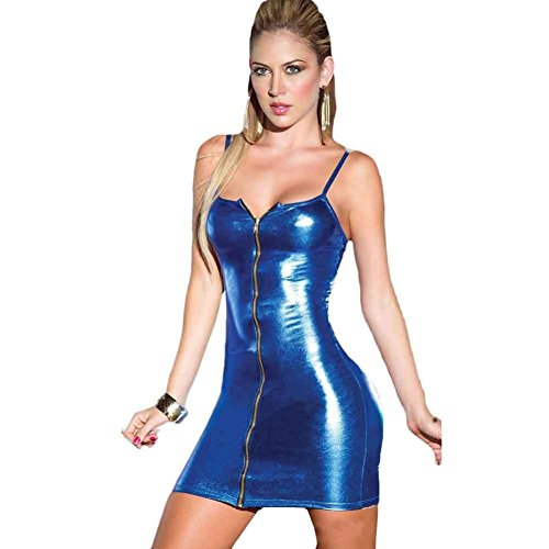 Sexy Lingerie, Mchoice Women Sexy Zipper Camisole Lingeries Jumpsuits Clubwear Stripper Patent Leather Underwear (L, Blue)