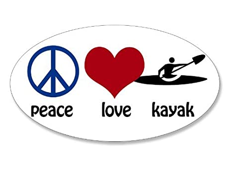 Oval peace love kayak sticker kayaking paddle fun
