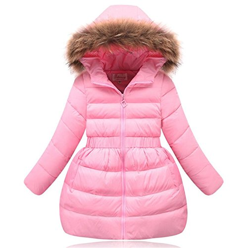 Jacket Newmarket (Girls Parka Winter Coat Fur Baby Girl Jackets Coat Long Thick Children Outerwear Coats Duck Down Jacket Pink 10)