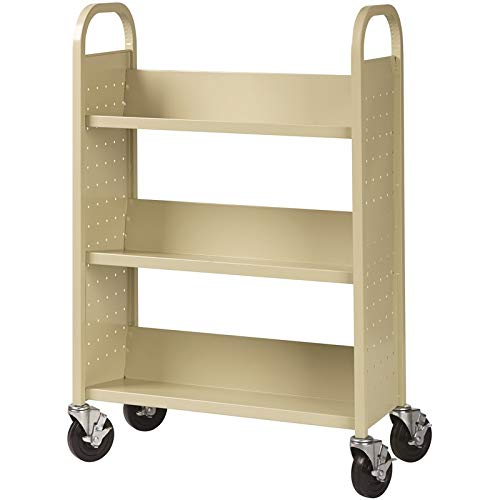 Hirsh Rolling Library or Home Office Single-Sided Sloped Shelves Book Cart with Lockable Wheels in Putty ()