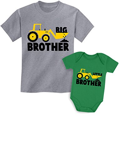 Big Brother Little Brother Shirts Gift for Tractor Loving Boys Siblings Set Baby Green/Kids Gray Baby 6M / Kids 3T