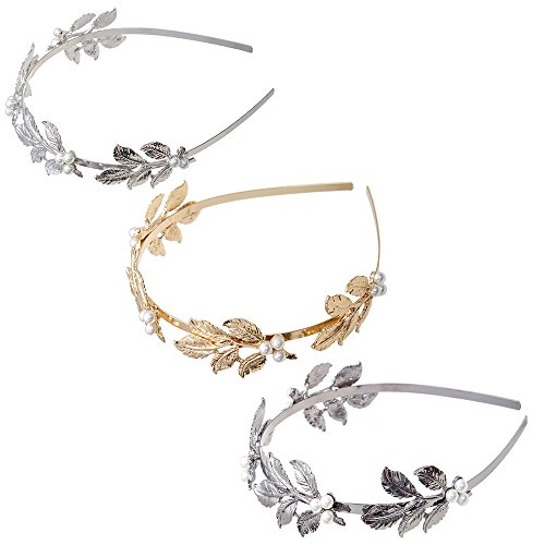 Vintage Laurel (Laurel Leaf Headband Hair Crown - AWAYTR Gold Plated Vintage Headpiece Women Headband Wedding Bridal Hair Accessories (Leaf))
