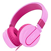 Elecder i36 Kids Headphones Children Girls Boys Teens Adults Foldable Adjustable On Ear Headsets 3.5mm Jack Compatible iPad Cellphones Computer Kindle MP3/4 Airplane School Tablet Pink/Rose