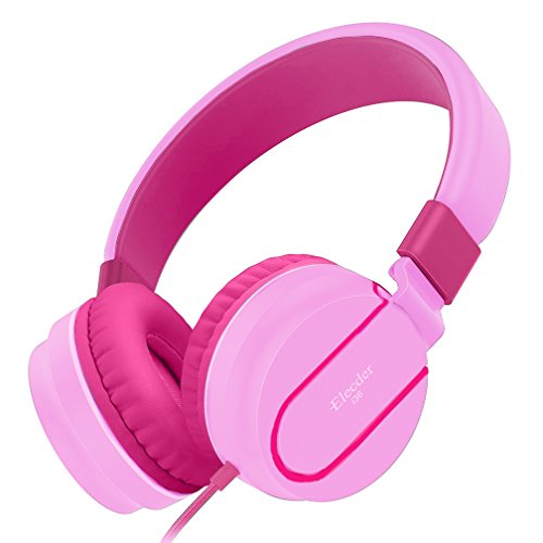 Elecder i36 Kids Headphones Children Girls Boys Teens Adults Foldable Adjustable On Ear Headsets 3.5mm Jack Compatible iPad Cellphones Computer Kindle MP3/4 Airplane School Tablet Pink/Rose