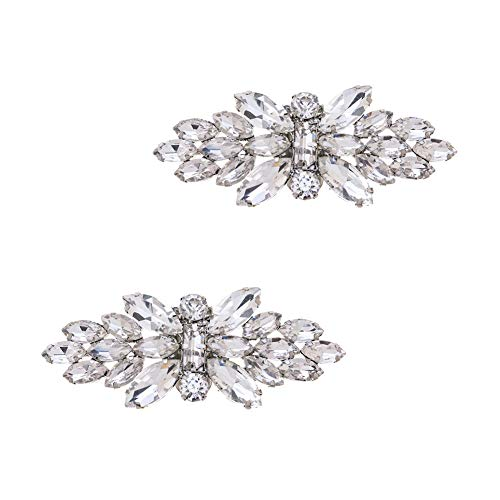 Casualfashion Women Rhinestones Crystal Flying Butterfly Shoe Clips for Wedding Party, 2Pcs