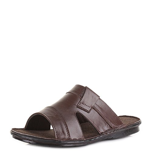 Shoestore - Sandalias de verano de piel para hombre marrón oscuro