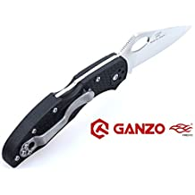 GANZO FIREBIRD Anti-Slip Handle Scales Steel Liner Lock Folding Tactical Survival Knife Blade with Clip, Pouch, Black