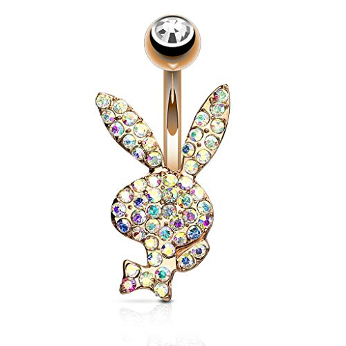 Inspiration Dezigns 14GA Crystal Paved Playboy Bunny 316L Surgical Steel Belly Button Navel Rings (Rose Gold/AB)