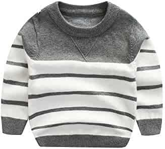 7737b6f18028 Kids Boys Cable Knit Sweater Long Sleeve,Round Collar Striped Sweatshirt  Baby Cotton Pullover Sweater