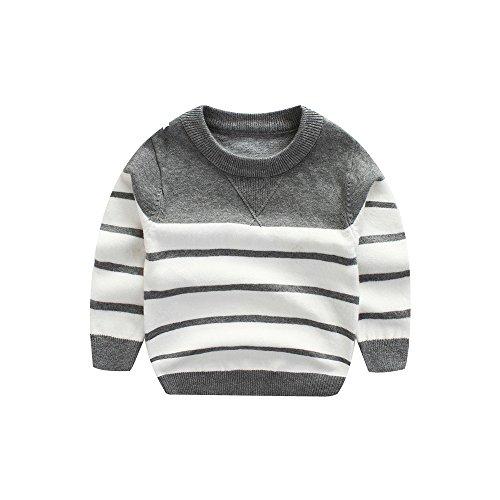 WeddingPach Kids Boys Knitting Sweater Baby Cotton Stripe Cardigan 1-5T (2T, Gray)