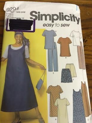 Simplicity Pattern 9294 Women's Dress or Tunic, Top, Jumper and Pants or Shorts, Size FF (18W-24W)
