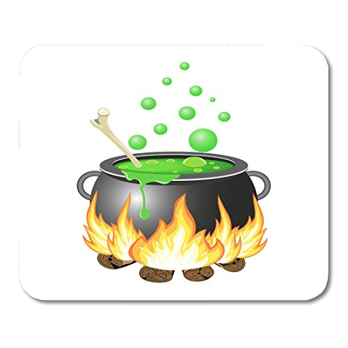 Nakamela Mouse Pads Bowl Black Autumn Halloween Cauldron Green Boiler Brew Mouse mats 9.5