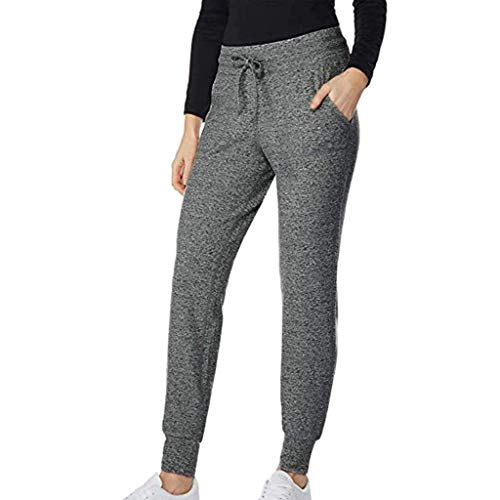 POQOQ Pants Leggings Women Ease in to Comfort Boot Cut Cotton Pull-on with Elastic Waist Wide Leg Comfy L Dark Gray