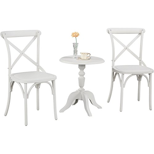 Island Gale 3pcs Bistro Set, Econ-Friendly Nylon Vintage-Style Accent/Dining Chair Curved Leg Cross Back with Side Table(French White) (French Style Outdoor Dining Furniture)