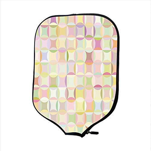 (VANKINE Neoprene Premium Pickleball Paddle Racket Cover Case,Pastel,Retro Pattern with Polka Dots Overlapping Ring Shapes Squares Colorful Funky Print Decorative,Multicolor,Fit for Most Rackets)