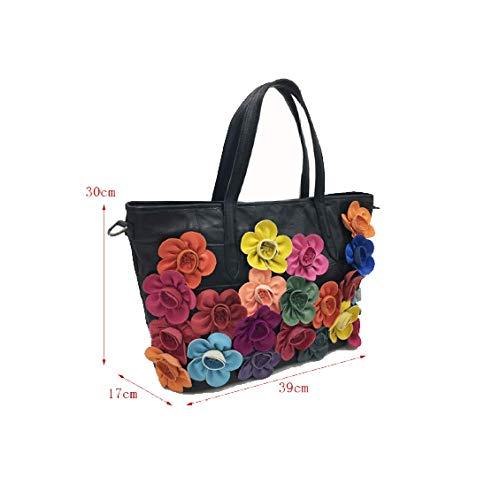 Di Black Fiori In Colori Capacità A Mano Art Esterna Da Shopping Coordinati Tracolla Borsa Grande Retro Donna Borsetta TnXwz4cPq