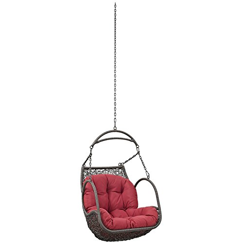 Modway EEI-2659-RED-SET Arbor Outdoor Patio Balcony Porch Lounge Swing Chair Set with Hanging Steel Chain Red For Sale