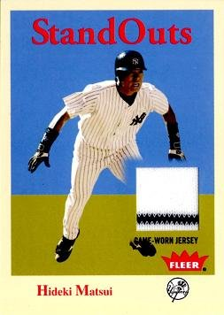 2005 Fleer StandOuts #SO-HM Hideki Matsui Game Worn Jersey Baseball Card - Hideki Matsui Game