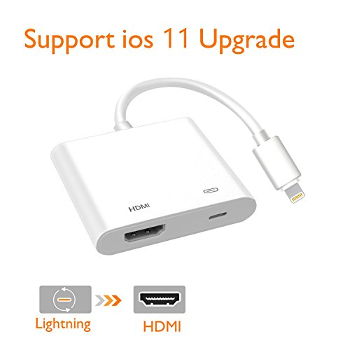 Ipod Touch Av Cable (Lighting to HDMI, Lighting to HDMI Adapter, Lightning Digital AV Adapter, with Lightning Charging Port, Compatible iPhone, iPad, iPod Touch, for HD TV Monitor Projector 1080P (White))
