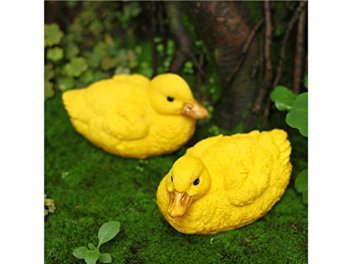 JINGB Garden 2 Pcs Resin Duck Ornaments Micro Landscape Decoration for Garden Home (Yellow)