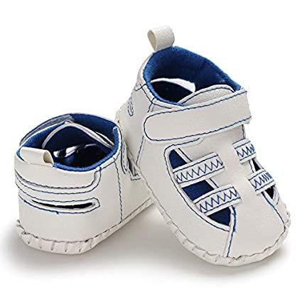 GAP Baby Boy Size 0-3 Months Light Blue White Lace-Up Boat Shoes Sneakers
