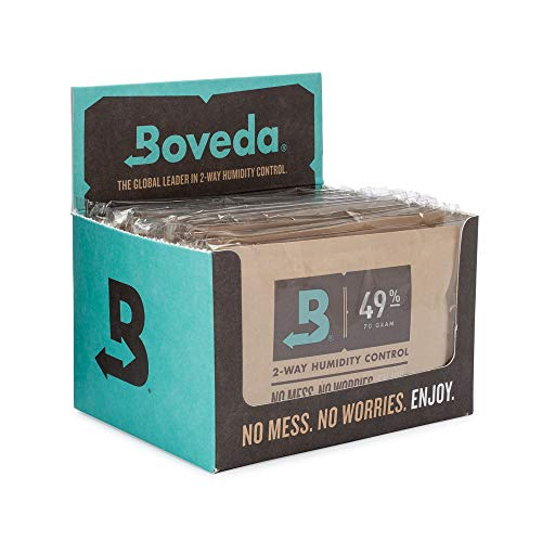 Boveda 49% RH 70 Gram, Patented 2-Way Humidity Control for Wood Instruments, (1) 12-Pack, overwrapped Boveda in Retail Carton, Protect Your Fretted and Bowed Instruments Against Cracking or ()