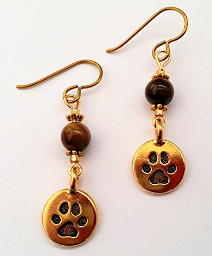 Round Cast Wire Earrings - Paw Earrings Handcrafted with Gold Plated Pawprint Charms Hypoallergenic Niobium Ear Wires