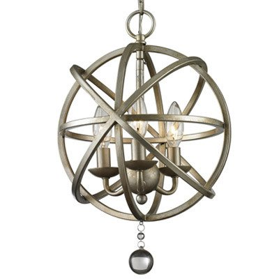 Industrial Vintage Pewter Retro Pendant Light - LITFAD Edison Metal Globe Shade Hanging Ceiling Cage Chandelier Pendant Lamp Fixture