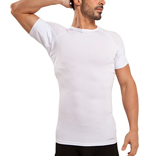 Ejis Men's Sweat Proof Undershirt, Crew Neck, Anti-Odor Silver, Micro Modal, Sweat Pads (X-Large, White)