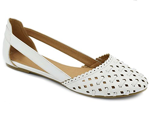 Greatonu Womens White Slip On Cut Out Flat Closed Toe Sandals Shoes Size 5
