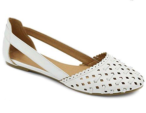 Greatonu Womens White Comfortable Flat Ballet Walking Shoes Size 9