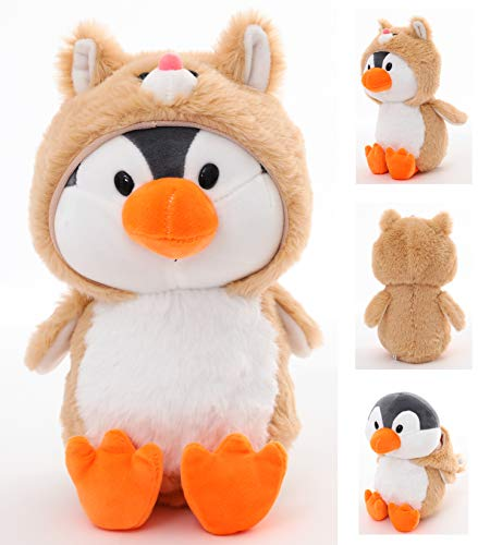 Penguin Stuffed Animals, Penguin Wearing Gray Costume,Plushies Penguin Funny Plush Toys for Kids Stuffed Animal Gift for Lover On Birthday, Valentine, Christmas
