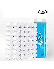 Toilet Paper Roll 4-Ply Soft Ultra Bulk Roll White Kitchen Bath Tissue Rapid Dissolving Bathroom Tissue Paper (12 Rolls Solid type)