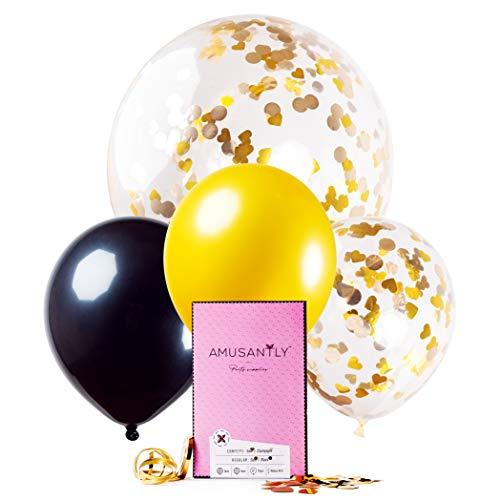 (AMUSANTLY Gold Black & Yellow Confetti Balloon Bouquet - Elegant 12