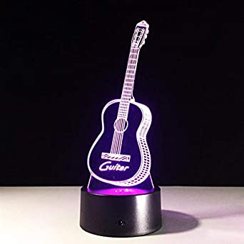 Guitarra 3D Night Light Creative Illusion 3d Lámpara LED 7 Cambio ...
