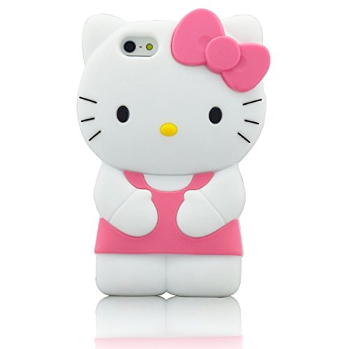 iphone 6 Plus Cartoon Case Silicone iphone 6S Plus,WGOOD 3D Cartoon Animal Pink Hello Kitty Soft Silicone Case Protection Cover for Apple iphone 6 Plus/ 6S Plus 5.5inch