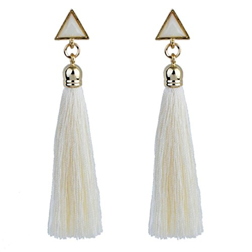Inkach Tassel Earrings for womens Bohemian Long Tassel Fringe Dangle Earrings Jewelry (Diamond Tassel)