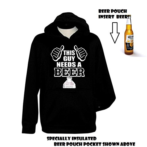 Beer Pouch Hoodie (Beer Hoodie Sweatshirt WITH BEER POUCH - This Guy Needs a Beer Funny (x-Large))