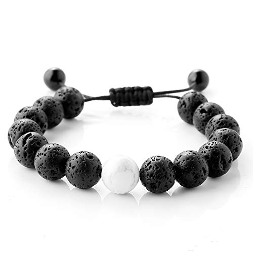 Maroamlife Handmade Lava Stone Diffuser Bracelet Calm Howlite and Lava Bead Essential Oil Aromatherapy Adjustable Braided Rope Stone Yoga Bracelet, Not Slide Down, Genuine Lava Stones