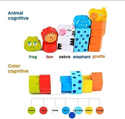 joofff Animal Jenga color Animal y separador Puzzle Bloque de rana de León jirafa cebra madera bloque juguetes Kid Learning Toys para la guardería: Amazon.es: Belleza