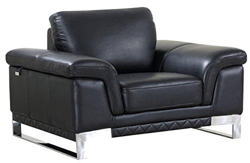 Blackjack Furniture 411-BLACK-CH Chair Italian Leather, Accent, ()