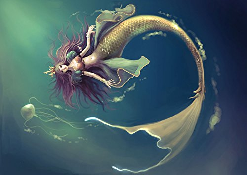 Ode-Rin Art Canvas Art Prints Modern Art Deco Beautiful Mermaid Under The Sea Paintings Printed Pictures on Canvas Wall Art for Home Decor ()