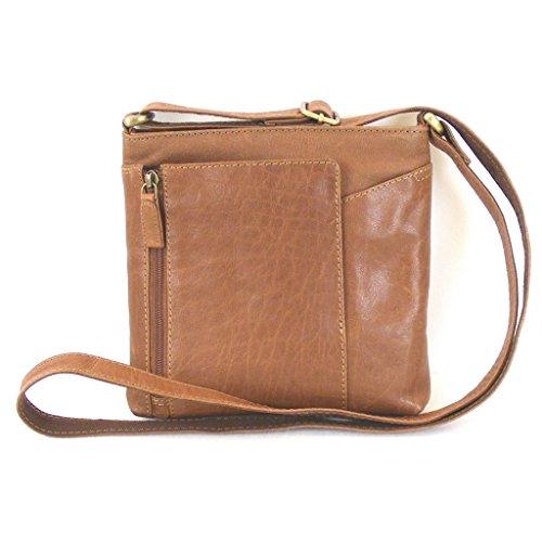 Fashionland Damen Tasche Crossovertasche Leder cognac 11359 Reißverschluss