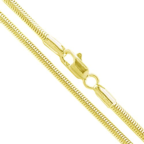 22k Yellow Gold Plated Sterling Silver Snake Chain 2.4mm Solid 925 New Brazilian Necklace 28