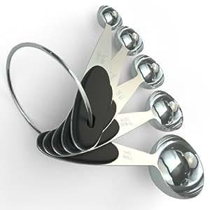 Premium Stainless Steel Measuring Spoons - 5 Piece Metal Spoon Set - Engraved in Metric/US Measurements