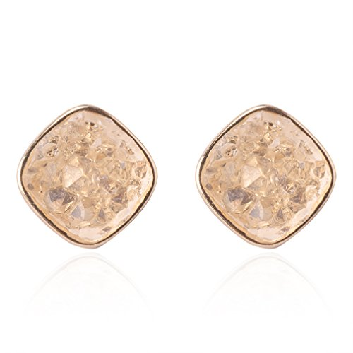 - Jane Stone Fashion Resin Square Colorful Faux Druzy Stone White Stud Earrings for Women and Teens